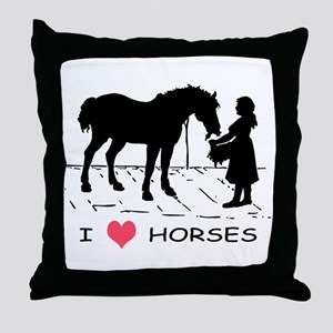 Horse & Girl I Heart Horses Throw Pillow
